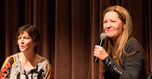 Jessica Thebus moderating a conversation with Joan Allen