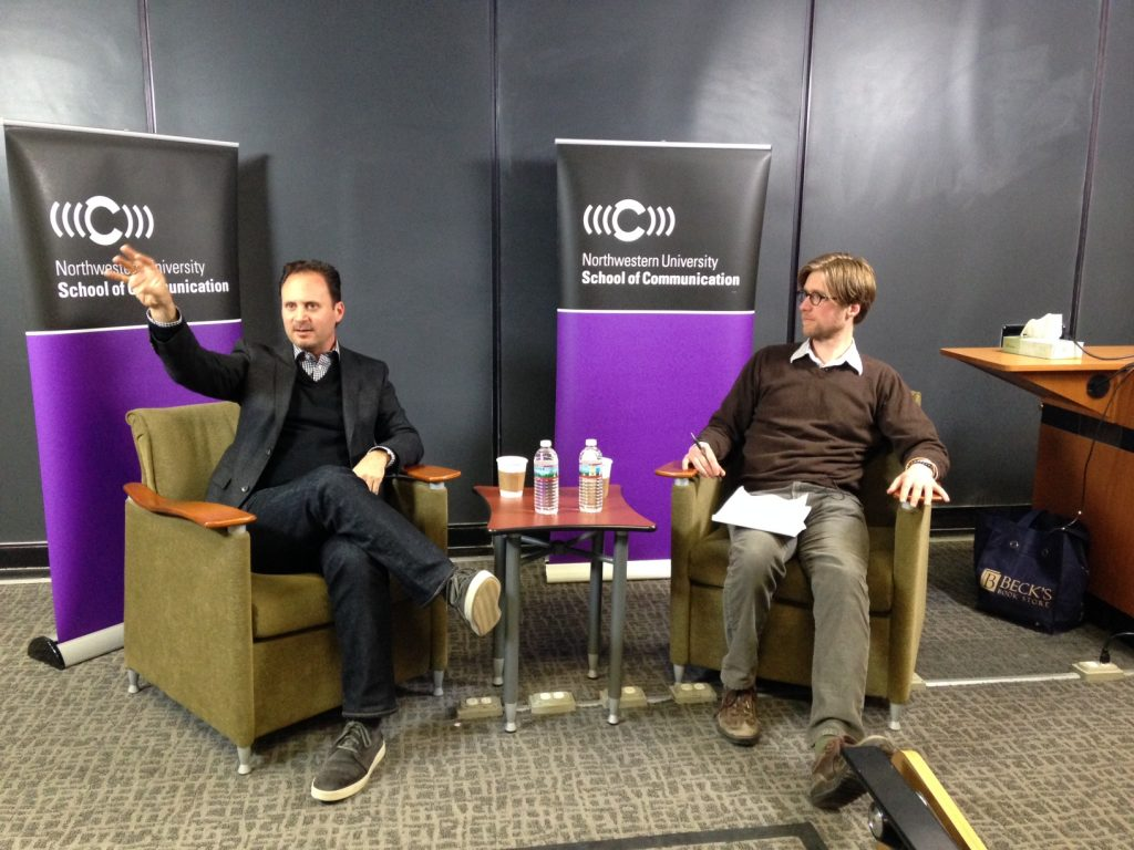 Mike Knobloch (left) answered questions from MSLCE Professor Jacob Smith and students. (Picture by Amy Ross)